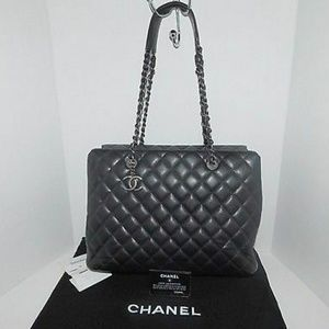 Chanel Quilted Black Caviar Large Tote Bag
